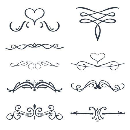 Set of Vintage ornaments swirls and scrolls decorations design elements. Stock fotó - 137874357