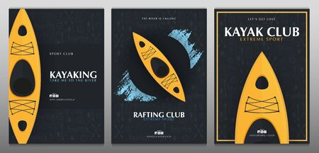 Set of Kayaking or rafting banners with yellow kayak and hand draw doodle background.
