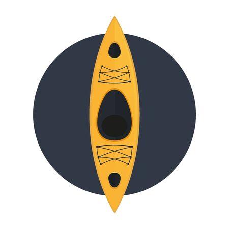 Yellow kayak with top views. Vector illustration.