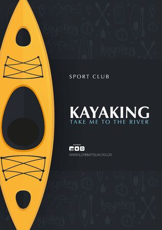 Kayaking or rafting banner with yellow kayak and hand draw doodle background.  イラスト・ベクター素材