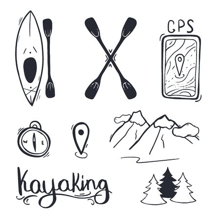 Set of kayaking or rafting accessory. Vector illustration.