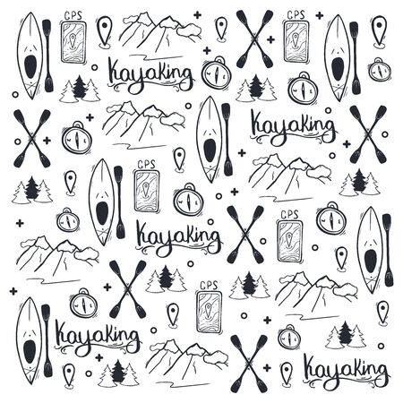 Kayaking or rafting hand draw doodle background.  イラスト・ベクター素材