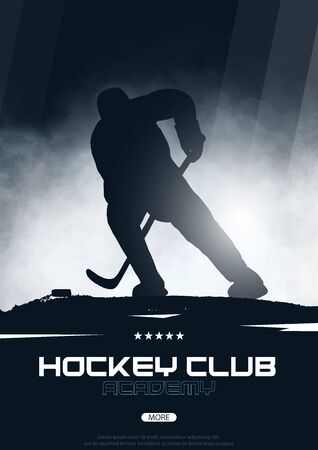 Ice Hockey poster with player and Stick. Stock Illustratie