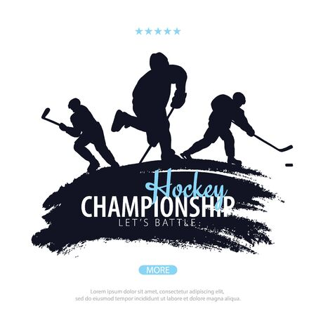 Ice Hockey banner with player and Stick.