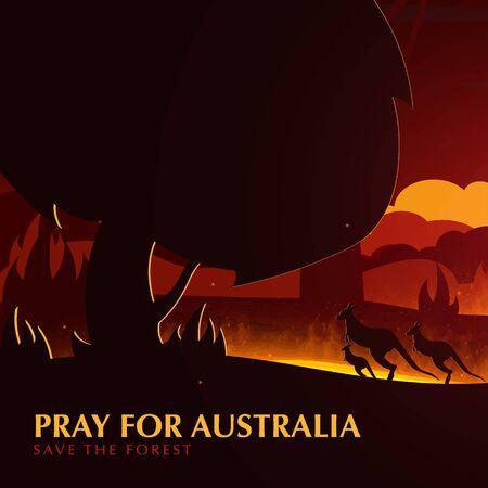 Australia Forest Fires background with Kangaroo. Pray for Australia. Natural disaster. Vector Illustration