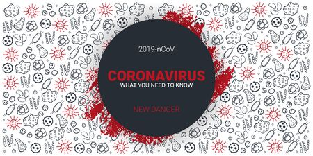 Coronavirus 2019 nCoV. What you need to know. Vector illustration with hand draw doodle background.