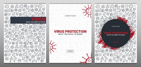 Set of Medicine Banner with virus. What you need to know. Vector illustration with hand draw doodle background