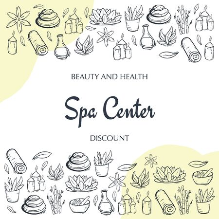 Spa and Relax Center banner with hand draw doodle background. Beauty Saloon.