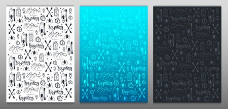 Set of Kayaking or rafting hand draw doodle backgrounds. Stock Illustratie