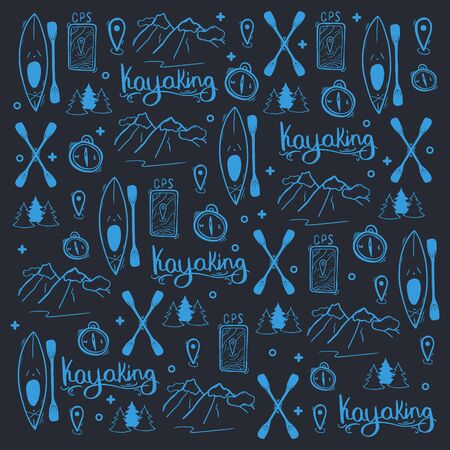 Kayaking or rafting hand draw doodle background. Stock Illustratie