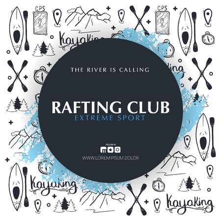 Kayaking or rafting banner with hand draw doodle background