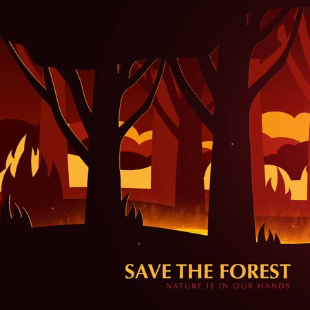 Forest Fires background. Save the Forest banner. Natural disaster. Vector Illustration 向量圖像