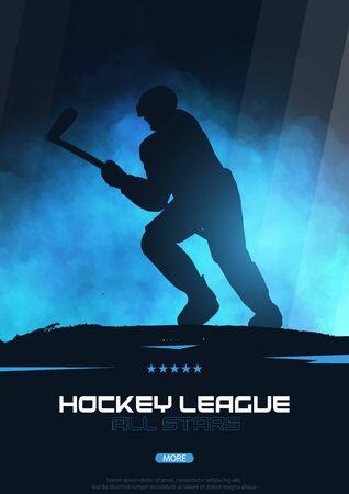 Ice Hockey poster with player and Stick. Illusztráció