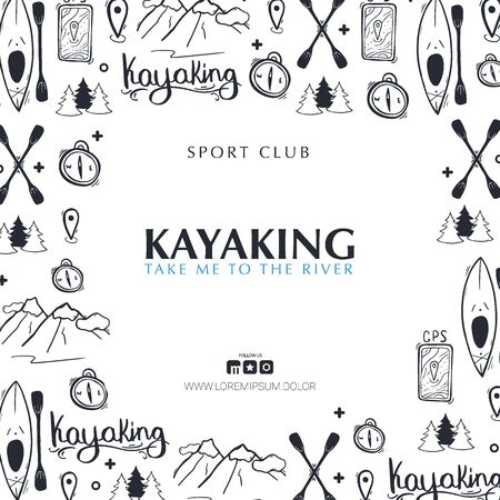 Kayaking or rafting banner with hand draw doodle background. Stock Illustratie