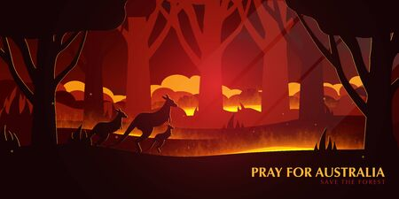 Australia Forest Fires background with Kangaroo. Pray for Australia. Natural disaster. Vector Illustration. Illusztráció
