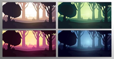 Set of Forest landscape Backgrounds in the sunshine, sunset, sunrise and night. Vector Illustration.