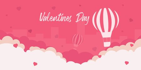 Valentines Day banner with air balloon on the pink background