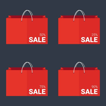 Set of Sale banners with shopping bags. Template Design Illusztráció