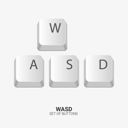 WASD. Keyboard buttons on white background. Vector illustration.
