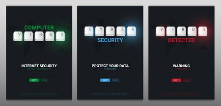Cyber Security, Computer Virus banners with keyboard buttons. Vector illustration