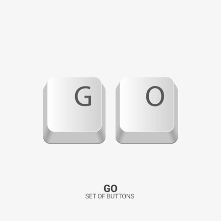 Go. Keyboard buttons on white background. Vector illustration.