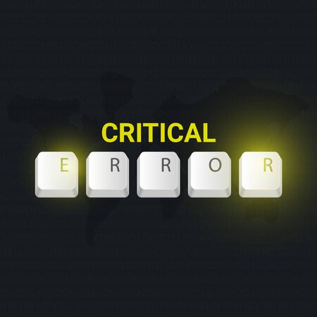 Critical Error banner with keyboard buttons. Vector illustration