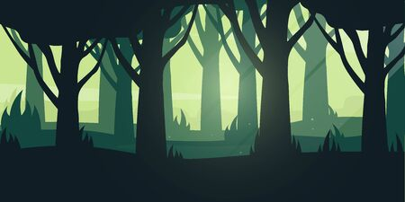 Green Forest landscape Background in the sunshine. Vector Illustration.