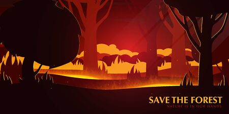 Forest Fires background. Save the Forest banner. Natural disaster. Vector Illustration.