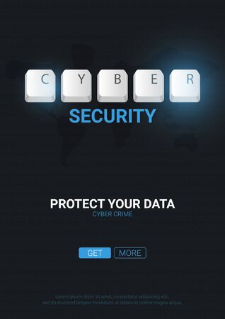 Cyber Security banner with keyboard buttons. Vector illustration