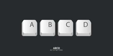 ABCD. Keyboard buttons on white background. Vector illustration Illusztráció