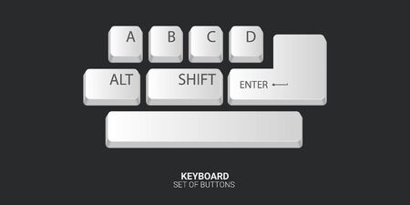 Set of Keyboard buttons on white background. Vector illustration