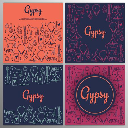 Set of Gypsy backgrounds with hand draw doodle elements.