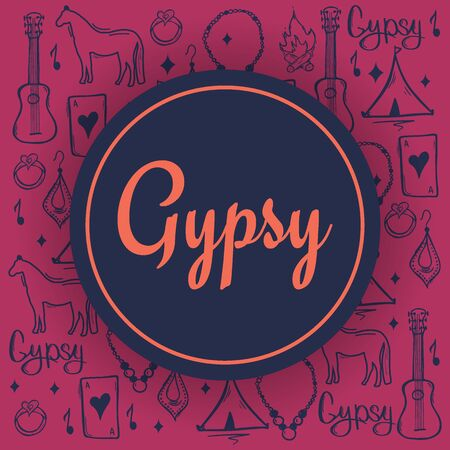 Gypsy background with hand draw doodle elements