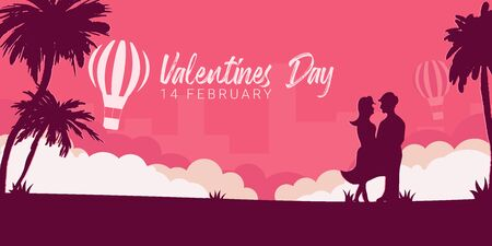 Valentines Day banner with couple in love, palms and air balloon on the pink background Illusztráció