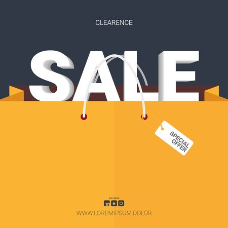 Sale banner with shopping bag. Template Design