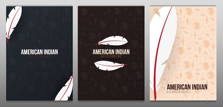 Set of Native North American Indian banners with feather and hand draw doodle elements.