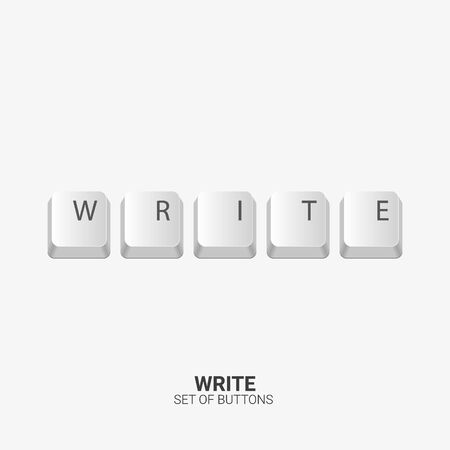 Write. Keyboard buttons on white background. Vector illustration.