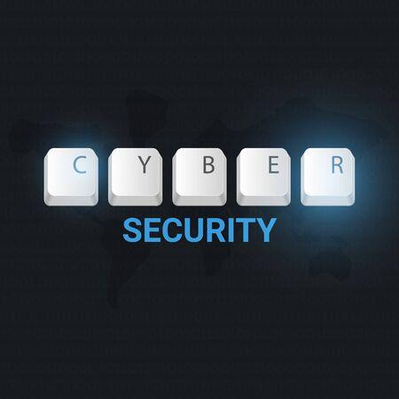 Cyber Security banner with keyboard buttons. Vector illustration. Illusztráció