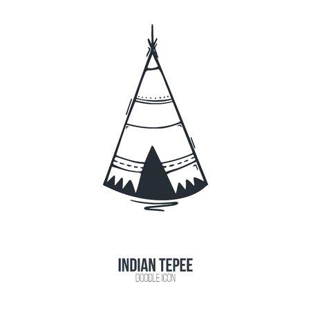 Native North American teepee icon. Vector illustration.