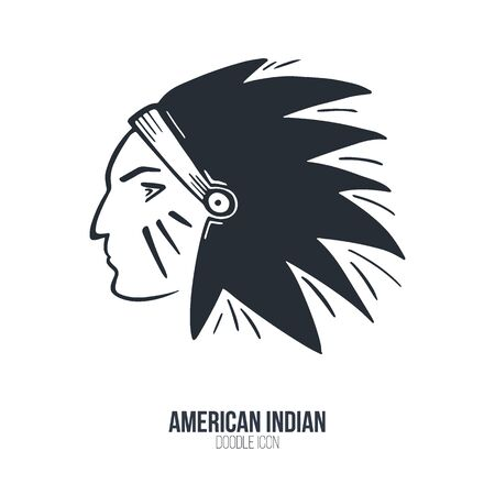 Head of North American Indian chief. Vector illustration. Ilustração