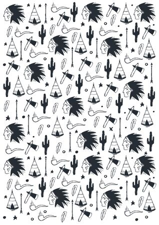 Native American Indian hand draw doodle background.