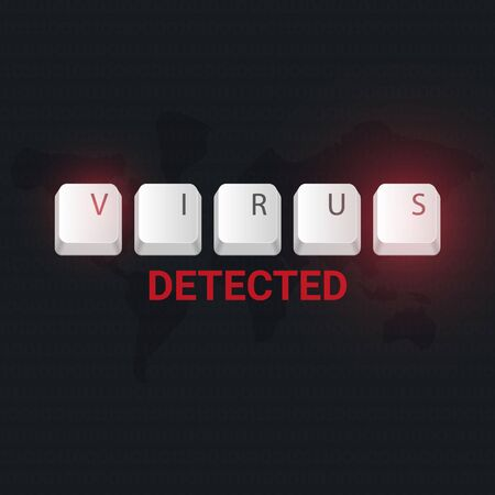 Virus Detected banner with keyboard buttons. Vector illustration.