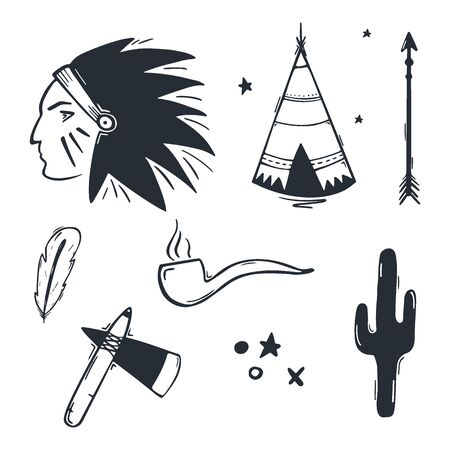 Native American Indian hand draw doodle elements. Illusztráció