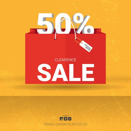 Sale banner with shopping bag. Template Design.