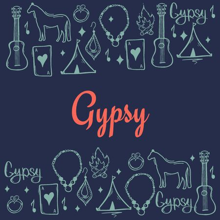 Gypsy background with hand draw doodle elements.