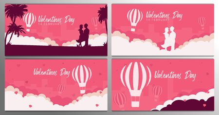 Set of Valentines Day banners with couple in love, palms and air balloon on the pink background.