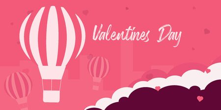 Valentines Day banner with air balloon on the pink background.