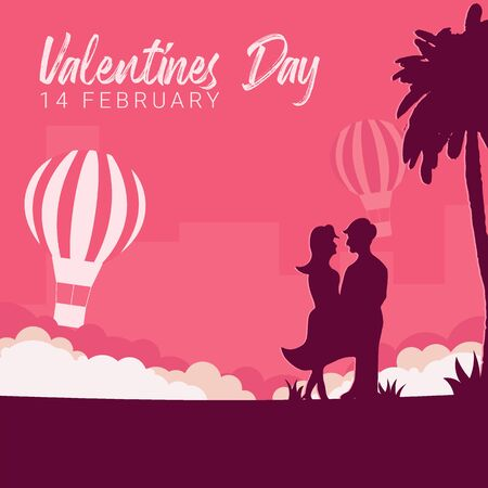 Valentines Day banner with couple in love, palms and air balloon on the pink background.