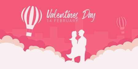 Valentines Day banner with couple in love and air balloon on the pink background.
