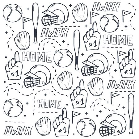 Baseball background with hand draw doodle elements. Template Design.